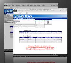 Tecate Ultracapacitor sizing tools